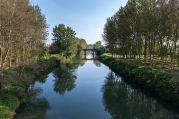 Agogna river with bridge, Ceretto Lomellina (Italy)