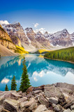 Landscape view of Moraine lake in Canadian Rocky Mountains - 70225756