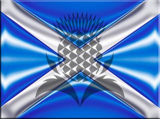 scottish flag with thistle symbol