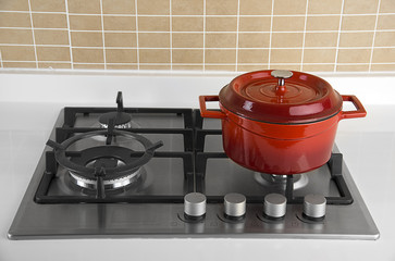 Cooking Pot on Gas Stove
