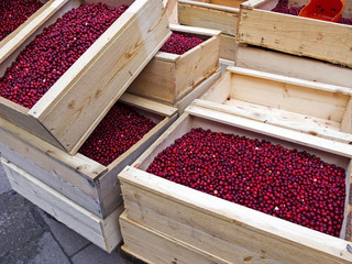 Wooden boxes with lingonberries for sale.
