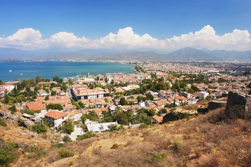 Panoramic view of the town Fethiye, Turkey