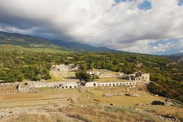 Tlos, view of the Roman amphitheater, Turkey