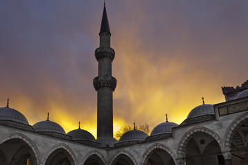 Suleymaniye mosque.Stormy sunset.Istanbul.