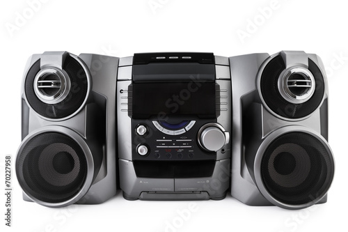 Leinwanddruck Bild Compact stereo system cd and cassette player isolated with clipp