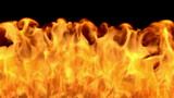 Photo realistic CGI 3D fire flythrough simulation with matte poster