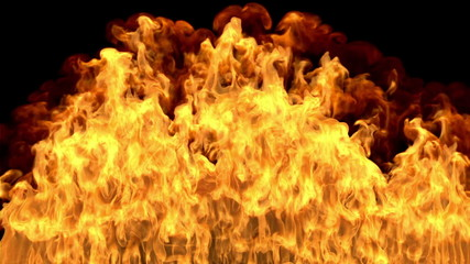Photo realistic 3D CGI raging fire simulation with matte