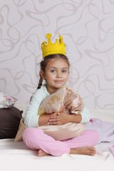 girl in princess crown at pyjamas party