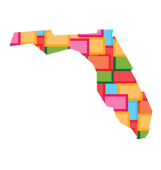 Florida color squares map. Concept of diversity, counties
