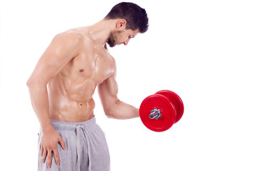 Muscular man lifting dumbbells on a white background