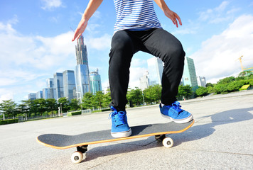 skateboarding at city