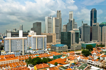 Aerial view of Singapore Chinatown and Business District