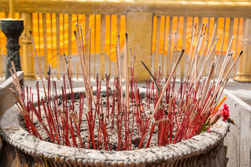incenses in a buddhist temple