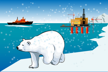 Polar bear and icebreaker