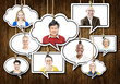 Set of Faces on Hanging Colorful Speech Bubbles