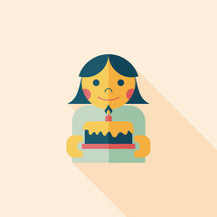 happy birthday to you flat icon with long shadow,eps10