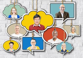 Set of Faces on Hanging Colourful Speech Bubbles