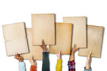 Group of Diverse Hands Holding Old Papers