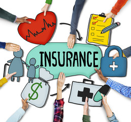 Hands Holding Insurance Text and Symbols