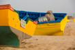Two Colored fishing boats on the beach of Sidi Kaouki - 70232996