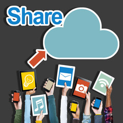 Diverse Hands Holding Digital Devices Cloud Networking