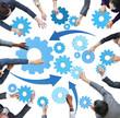 Multiethnic Business People with Teamwork Symbols