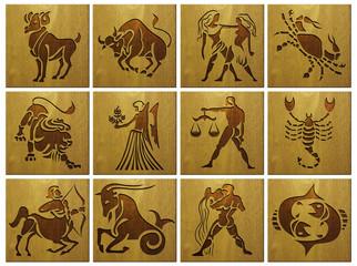 zodiac signs on wood