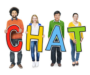 Group of People Standing Holding Chat