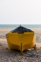 Back of colored fishing boat on the beach of Sidi Kaouki