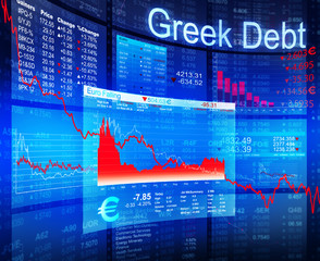 Greek Debt Crisis with Blue Background