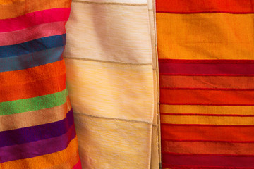 Colored cloths and silks from Morocco