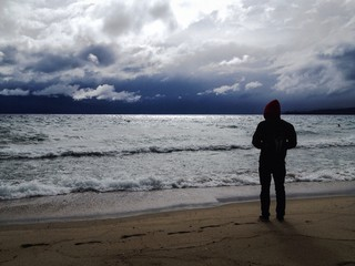Lake Tahoe, beach after a storm