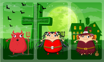 Happy halloween night vector on Devil,Devil girl,Witch