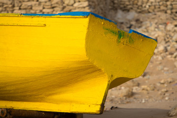 Detail of Colored fishing boat on the beach of Sidi Kaouki