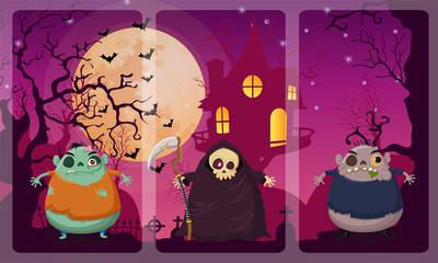 Happy halloween night vector on Zombie,Grim reaper,Zombie