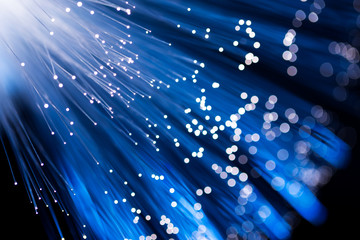 Optical fiber in blue color