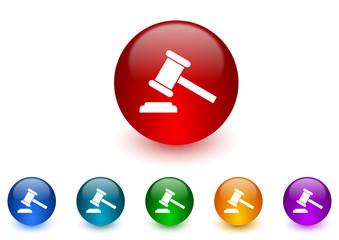 auction internet icons colorful set