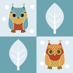Owl seamless background