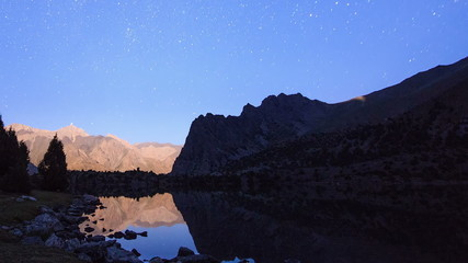 Lake in the moonlight. TimeLapse. Pamir, Tajikistan