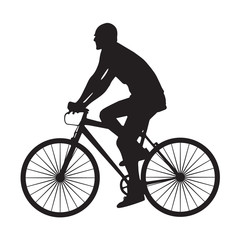 Silhouette man ride bicycle