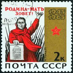 Soviet mother holding manifesto (USSR 1965)