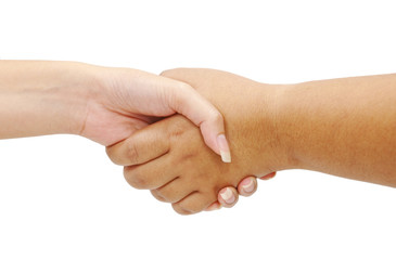 Shaking hands of two female people on white background