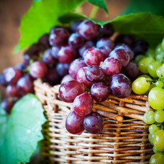 Close up Red Grapes in Basket