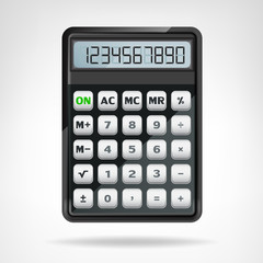 big round black calculator object isolated vector