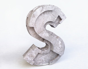 Stone Letter S in 3D
