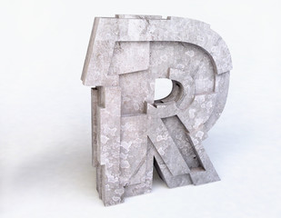 Stone Letter R in 3D