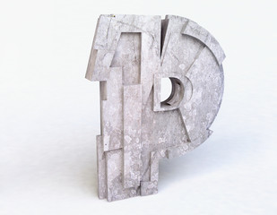 Stone Letter P in 3D