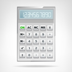 big square metallic calculator object isolated