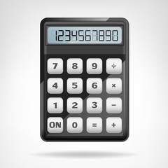 small round black calculator object isolated
