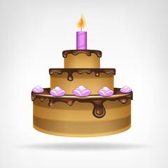 big chocolate glazed cake isolated